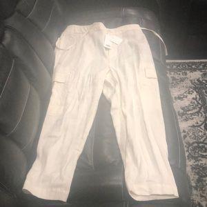 NWT $295!!! Vince linen cargo Capri pants large